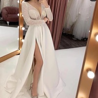 Robe De Soiree White Long Sleeve Evening Dresses Long for Women Elegant Lace Foraml Party Dress Sexy Illusion Slit Party Gown