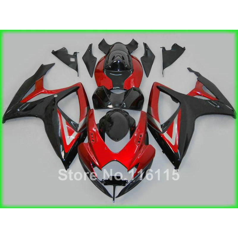 Injection mold <font><b>fairings</b></font> for SUZUKI <font><b>GSXR</b></font> <font><b>600</b></font> 750 K6 K7 2006 2007 black red <font><b>fairing</b></font> <font><b>kit</b></font> GSXR600 GSXR750 06 <font><b>07</b></font> A647 image