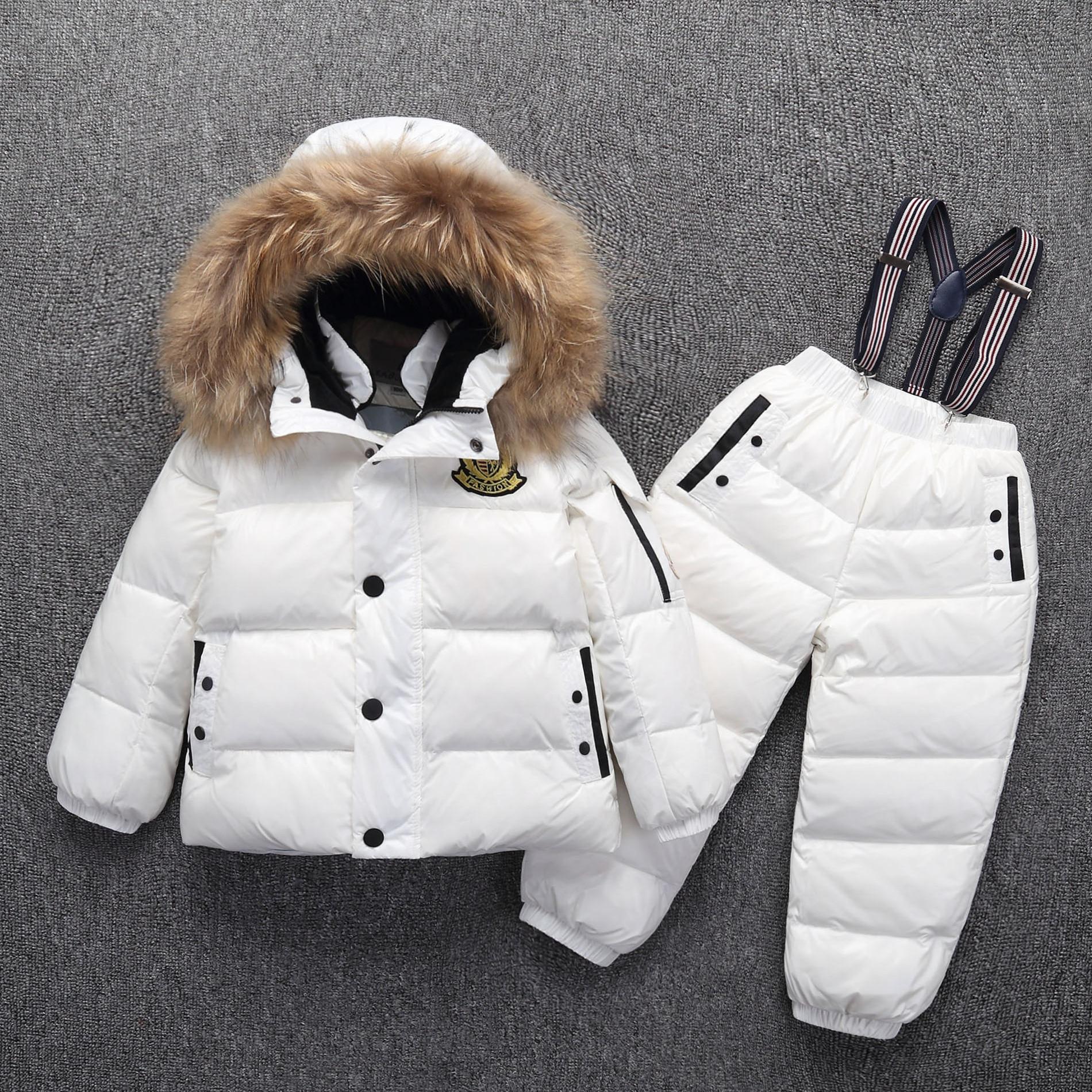 -30 degrés russe chaud enfants hiver costumes garçons fille canard doudoune + pantalon vêtements ensembles enfants vêtements neige porter Top qualité