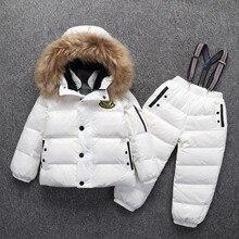 30 grad Russische Warme Kinder Winter Anzüge Jungen Mädchen Ente Unten Jacke + Hosen Kleidung Sets Kinder kleidung Schnee tragen Top Qualität