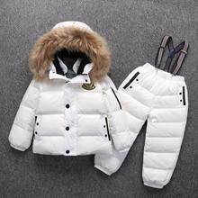 Traje de invierno cálido ruso para niños y niñas, chaqueta de plumón de pato + Pantalones, ropa para niños, ropa para nieve de alta calidad, 30 grados