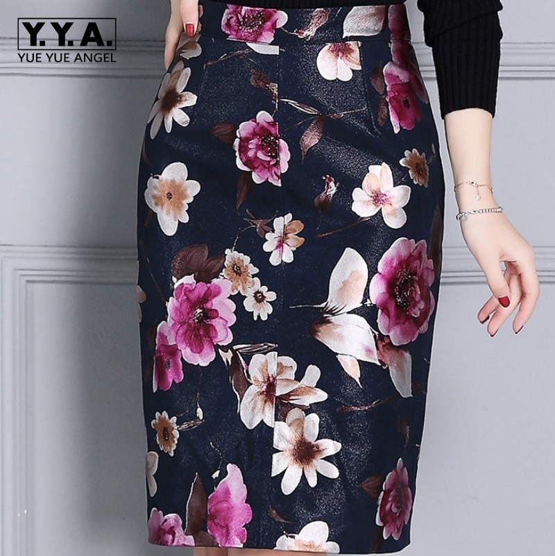 Luxury High Quality Sheepskin Womens Floral Printing Wrap Skirts High Waist Knee Length Real Leather Ladies Skirts Plus Size 4XL image