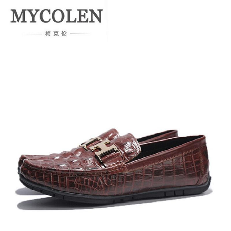 MYCOLEN Men Casual Shoes 2017 Fashion Men Shoes Leather Men Loafers Slip On Men'S Flats Loafers Male Shoes Mocassin Homme