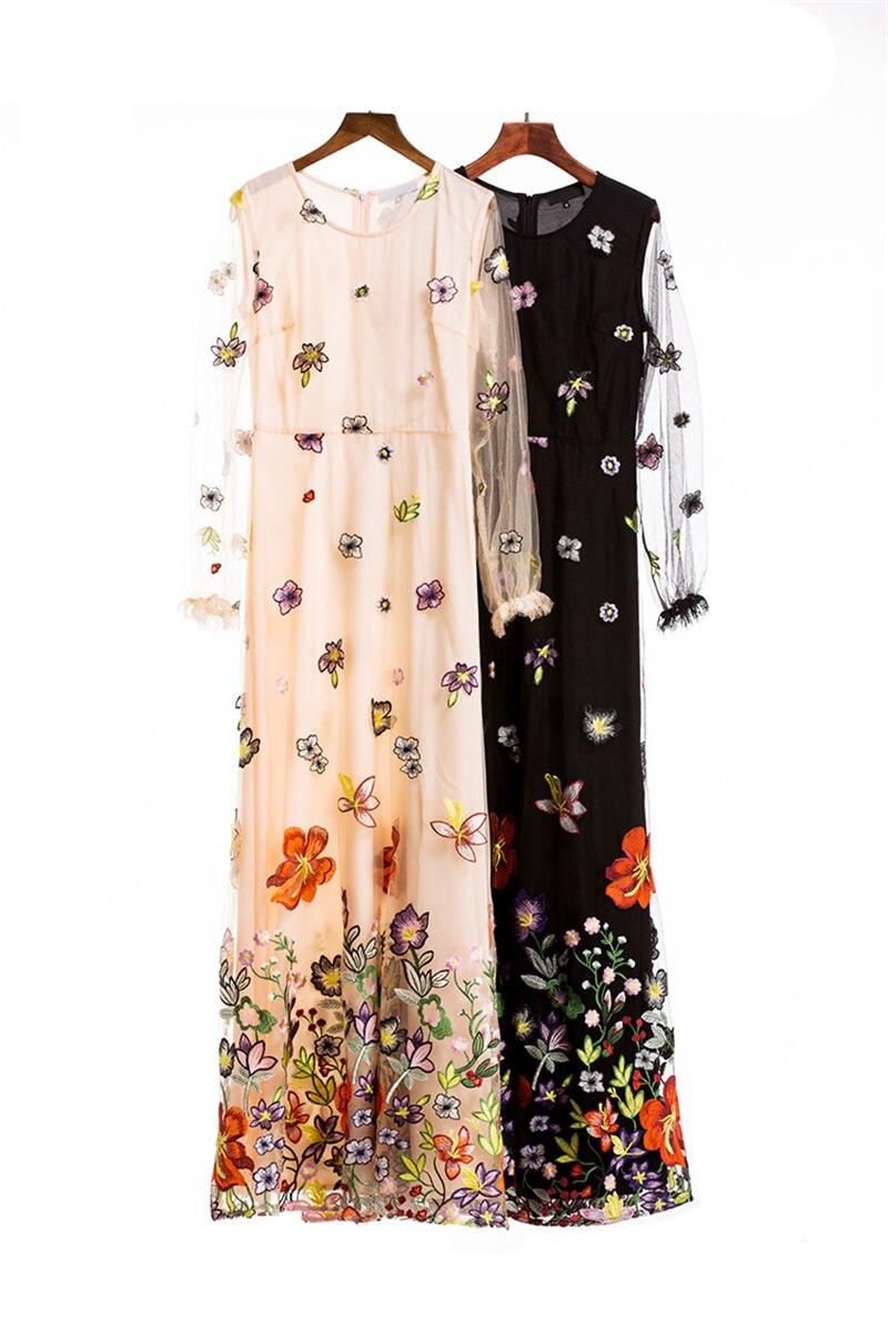 HTB1HkLyi4rI8KJjy0Fpq6z5hVXaE - 2018 Spring High Quality Mesh Floral Embroidery Long Dress Full Sleeve Vintage Flower Black Runway Designer Maxi Women Desses