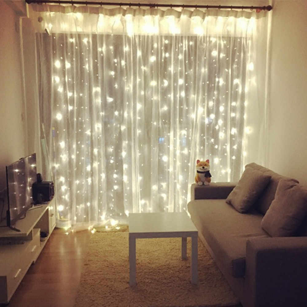 New Year 3M x 3M Outdoor Curtain Icicle LED String Lights 8 Modes Fairy Garland Home For Christmas Holiday Wedding Party