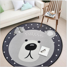 Kid Round Rug Grey Cartoon Animals Bear Fox Panda Carpet Living Room Bedroom Decor Children Play Game Soft Mat