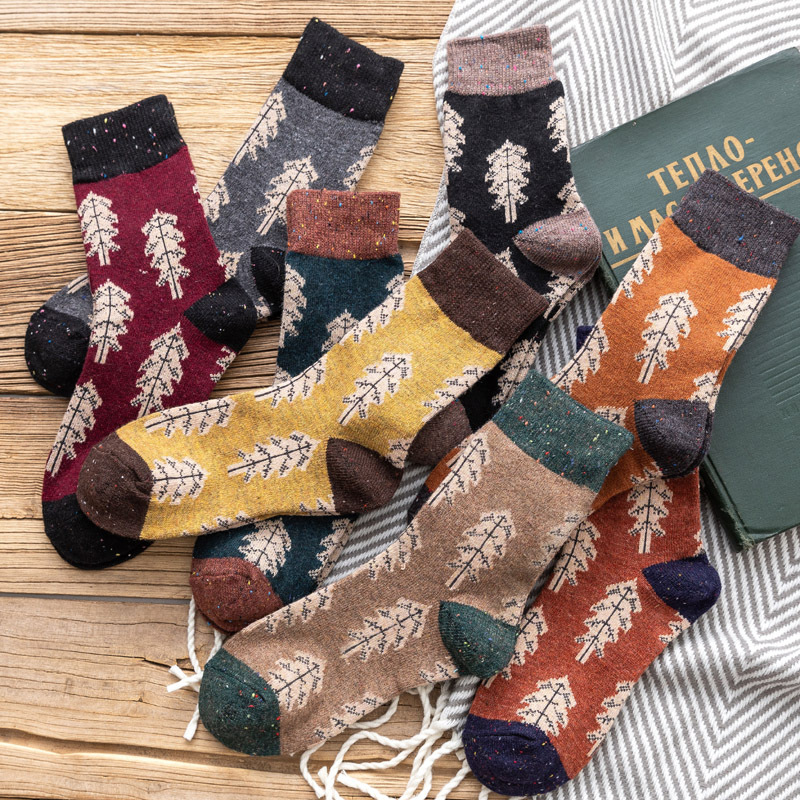Jeseca Women Christmas   Sock   Casual Tree Style Solid Girl Cute   Socks   Female Retro Winter Warm Wool   Sock   Sox Christmas Gift