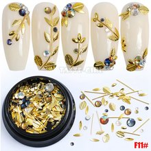 1 Pot Mix Shape Metal Leaf Caviar Beads Ball Bar Star Moon Acrylic Diamond Nail Art Rhinestones Gems Decorations Manicure DIY F#
