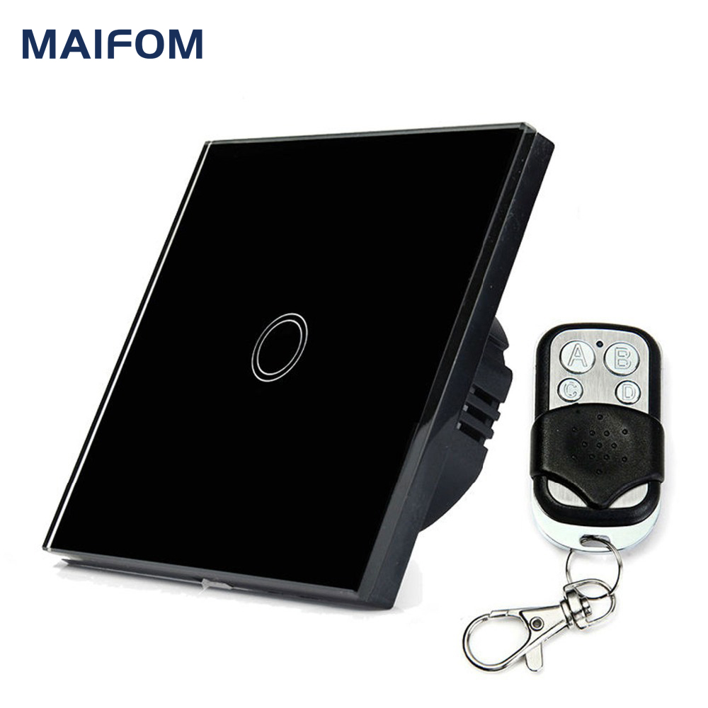 MAIFOM Remote Control Touch Switch Capacitive Sensor Switch Crystal Glass Touch Panel Fireproof Waterproof Wall Light Switch smart home us black 1 gang touch switch screen wireless remote control wall light touch switch control with crystal glass panel