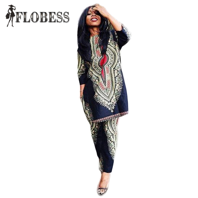 New Fashion 2016 Autumn 2 Pieces Set Women African Totems Print Dashiki Set O-Neck Long Blusa and Pants Suit Women's Casual Sets