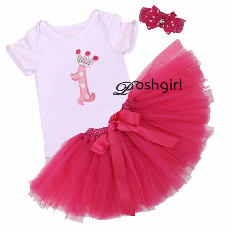 122350d7946f 3Pcs Set Baby Girl Crown Tutu Dress Infant 1st Birthday Party Outfit Romper  Bubble Skirt Headband Bebe Newborns Tulle Vestidos