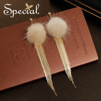 Special Fashion Natural Mink Hair Stud Earrings Long Tassel Earrings American Style Trendy Jewelry Gifts For