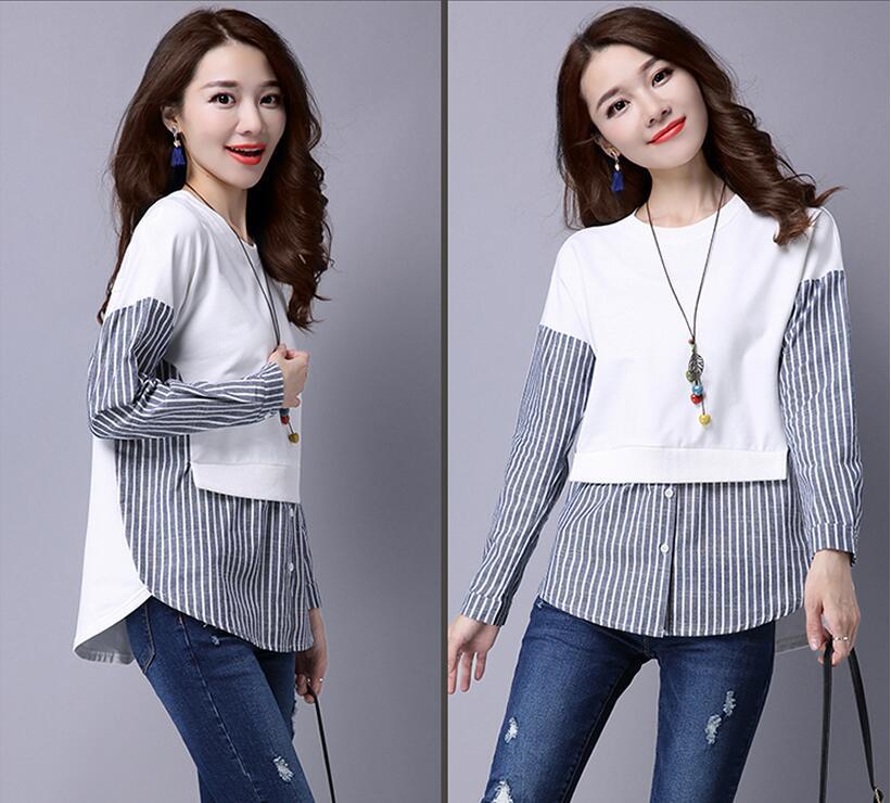 HTB1HkMeQXXXXXa7XFXXq6xXFXXXC - 2017 Spring Blouses Shirt Female Long Sleeve Casual Striped