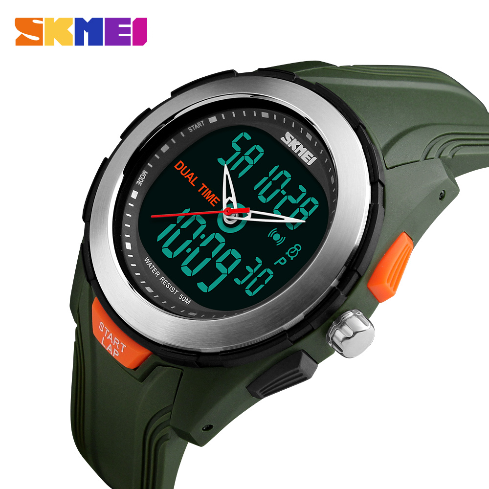 New Men Sport Watches Dual Display Digital Quartz Watch SKMEI Brand Outdoor Sports LED Waterproof Wristwatches цены