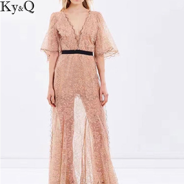 322c8ffc73e Ky Q Sexy Beach Dress Women Maxi Summer Lace up Half Sleeve V Neck Backless  Apricot Female