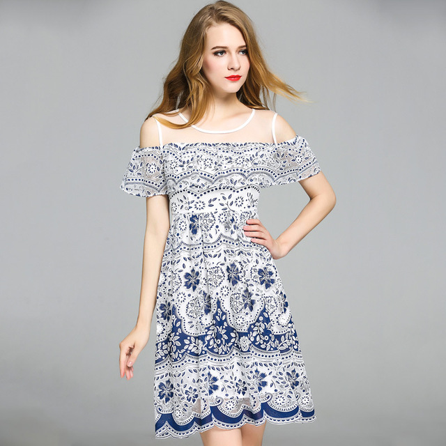 f4f6f12cf03 Ladies Lace Casual Dress Sexy Strapless Slim Floral Porcelain Coton Beautiful  Summer Dresses Elegant Luxury Women Frock Clothes