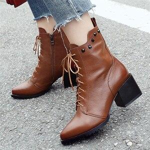 Image 4 - FEDONAS ماركة النساء جلد طبيعي حذاء من الجلد عالية الكعب المسامير ليلة نادي أحذية الحفلات امرأة الدانتيل يصل قصيرة السيدات الأحذية