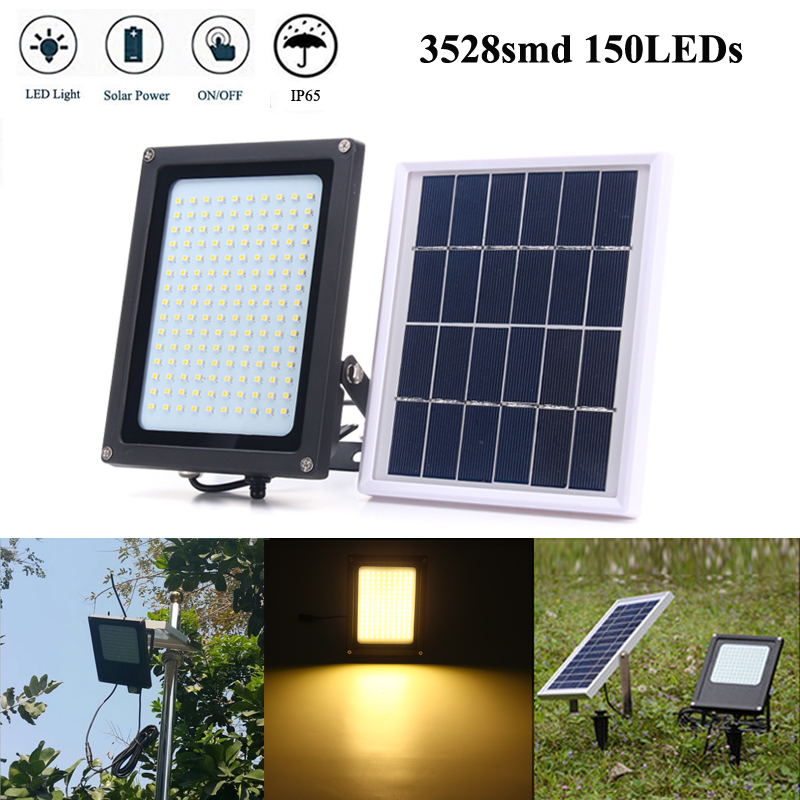 150 LED 8W Solar Powered LED Flood Light Sensor Solar Panel Floodlight 3528 SMD Outdoor Garden Security LED Floodlight Wall Lamp brelong 15w smd 3528 led panel light