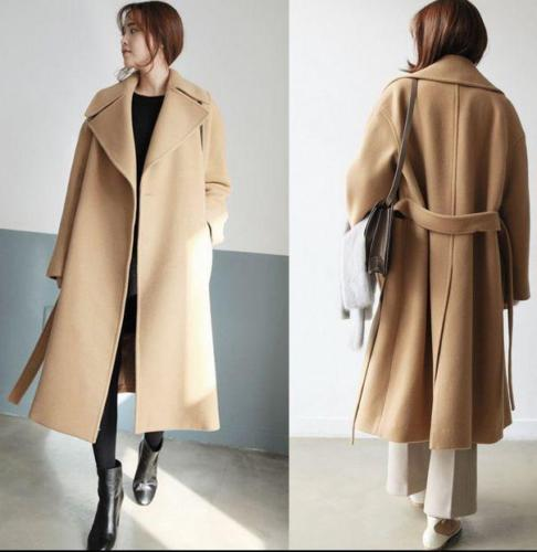 Womens Long Loose Coat 100% Wool Cashmere Outwear Warm Slim Fit Thicken Vintage Winter 3Colors