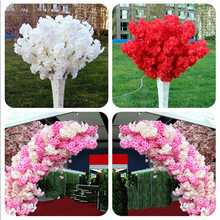 60pcs Artificial Cherry Blossom Branch Fake Sakura Stem more heads 11 Colors for Wedding Party Tree Decorative Flowers