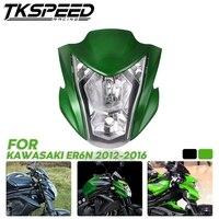 Зеленая черная мотоциклетная фара в сборе Фара свет дом подходит для Kawasaki ER6N 2012 2016 13 14 15