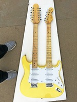 New Classic GYST yellow cream body 6/12 Strings Double Neck electric guitar, be customized. Free shipping!