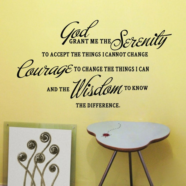 Home Decor Mural Decoration Grant Me The Serenity Prayer Art Quote Vinyl Wall Stickers