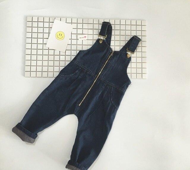 new 2017 Wholesale spring fashion baby cotton denim strap trousers