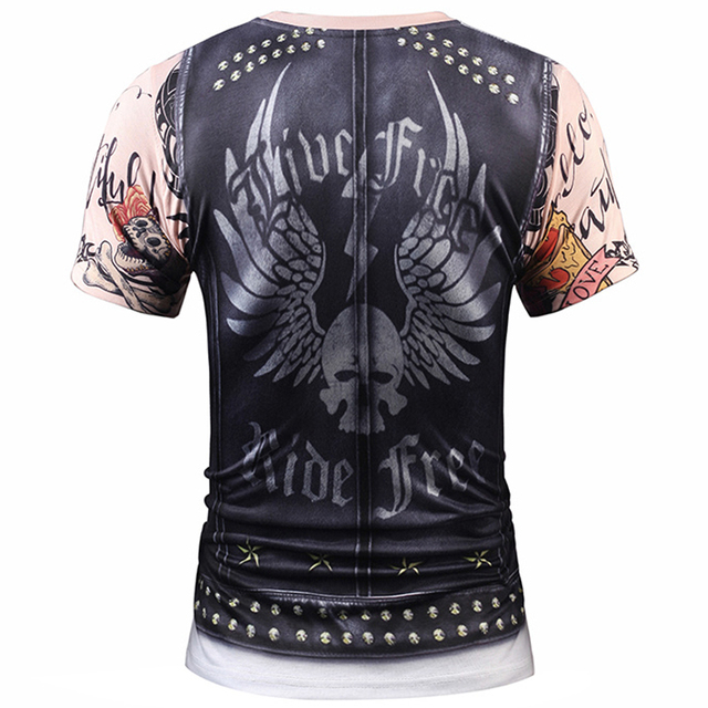 Fake Vest Tattoo Men T Shirts 3D T Shirt Skull Short Sleeve Hip Hop Fashion Tee Shirt Homme Slim Fit Halloween Cosplay T-shirt 1