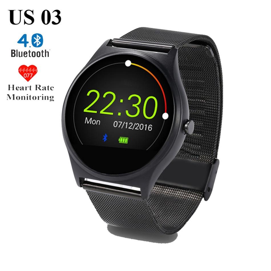 Hot US03 Bluetooth font b Smart b font Watch MTK2502C 128M 64M Sleep Heart Rate Monitor