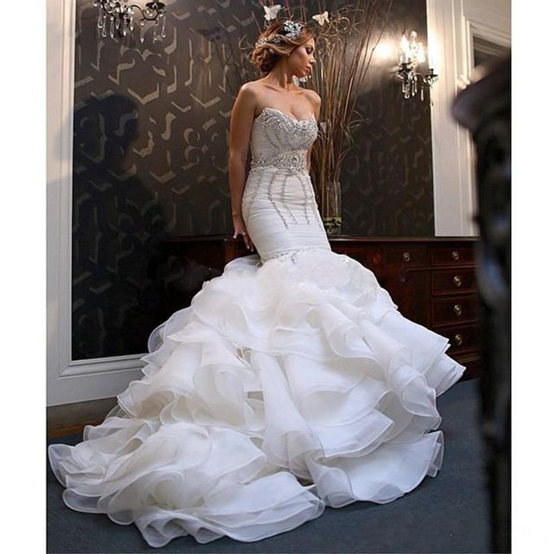 Vestido De Noiva New Vintage 2017 Mermaid Wedding Dresses Strapless Bling Crystal Ruffle Organza Ruched Luxurious Gowns In From