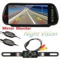 New Wireless 7 Inch LCD Mirror Monitor + IR Car Rear View Reversing Camera Backup Kit