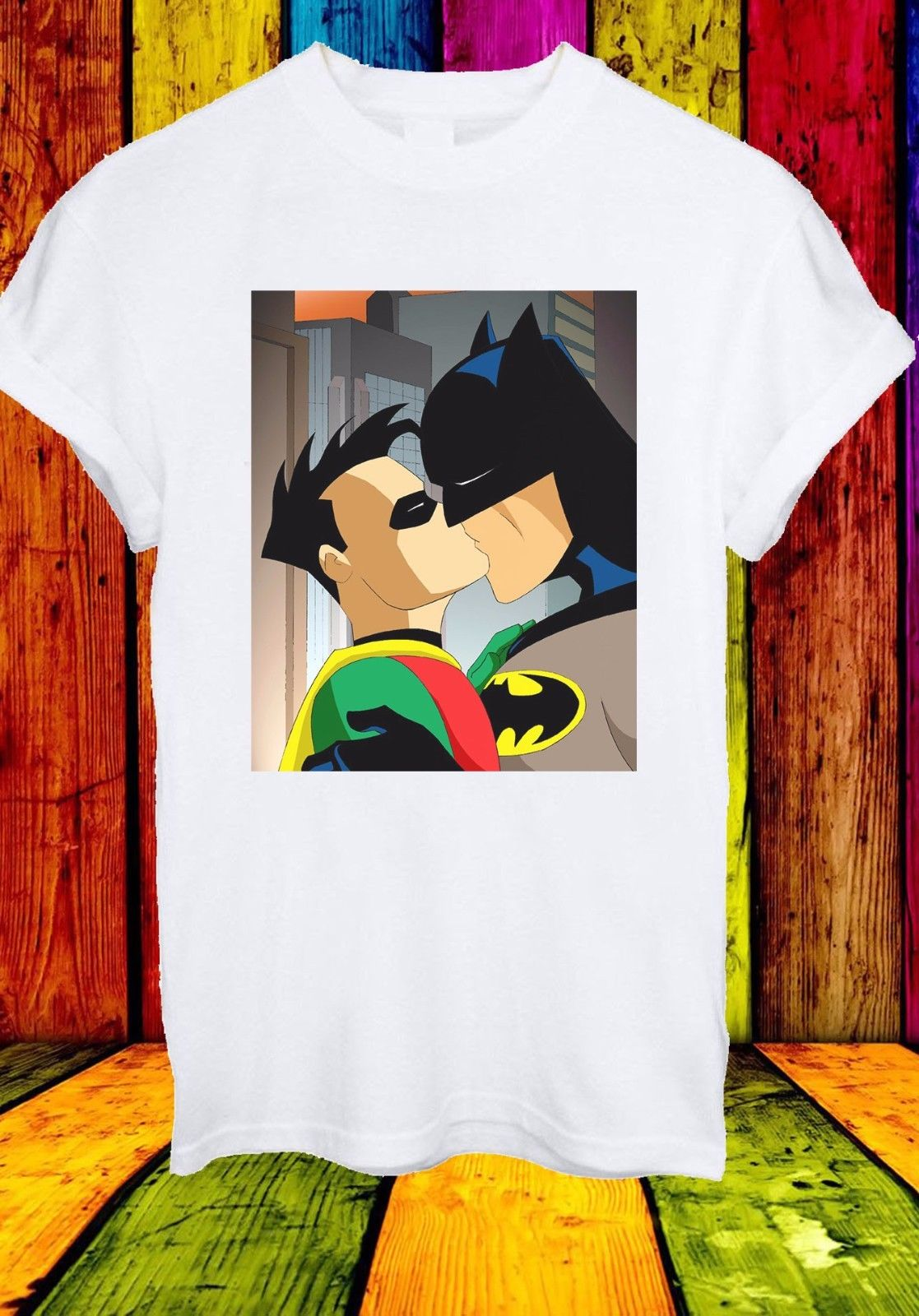 Batman Robin Kiss Gay Pride LGBT Justice League Men Women Unisex T-shirt 757 ...