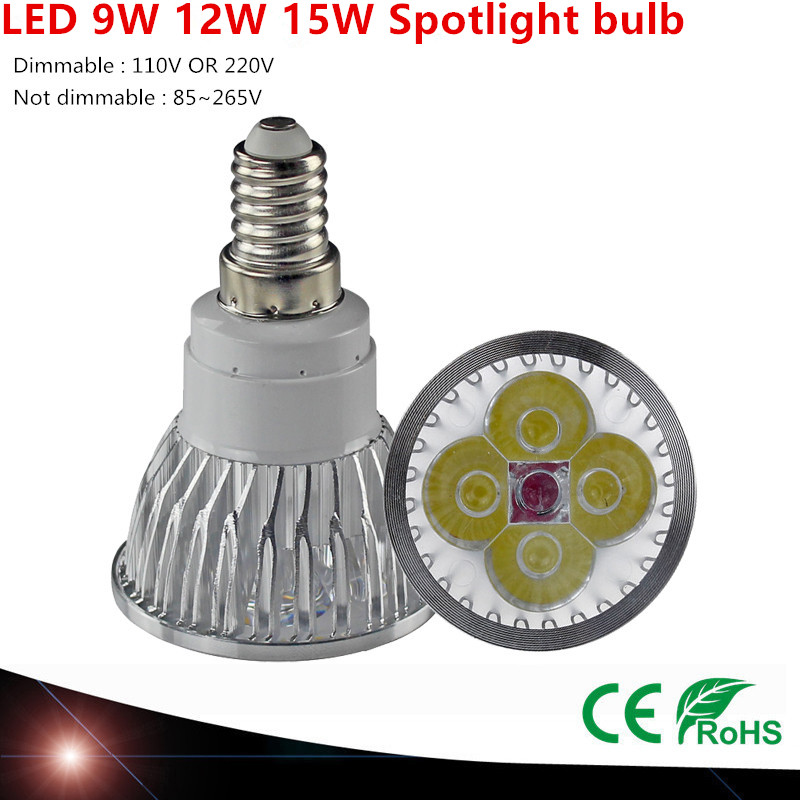 1 Pcs Super Bright 9W 12W 15W E14 LED Lamp 110V 220V Dimmable Led Spotlight Warm / Natural / Cools White E14 LED Lamp