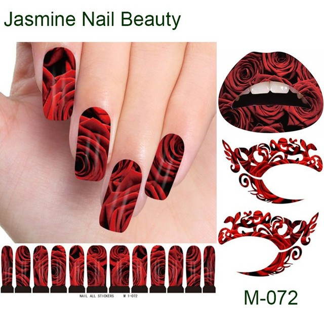 Free Shipping 24packs Romantic Red Rose Nail Art Sticker Black Water