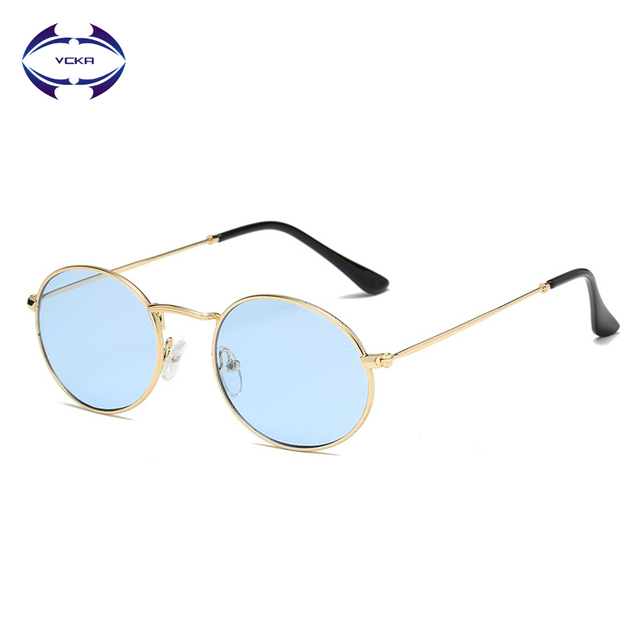 3774d189043d VCKA 2019 New Brand Designer Vintage Oval Sunglasses Women Men Retro Clear  Lens Eyewear Sun Glasses For Female metal frame UV400