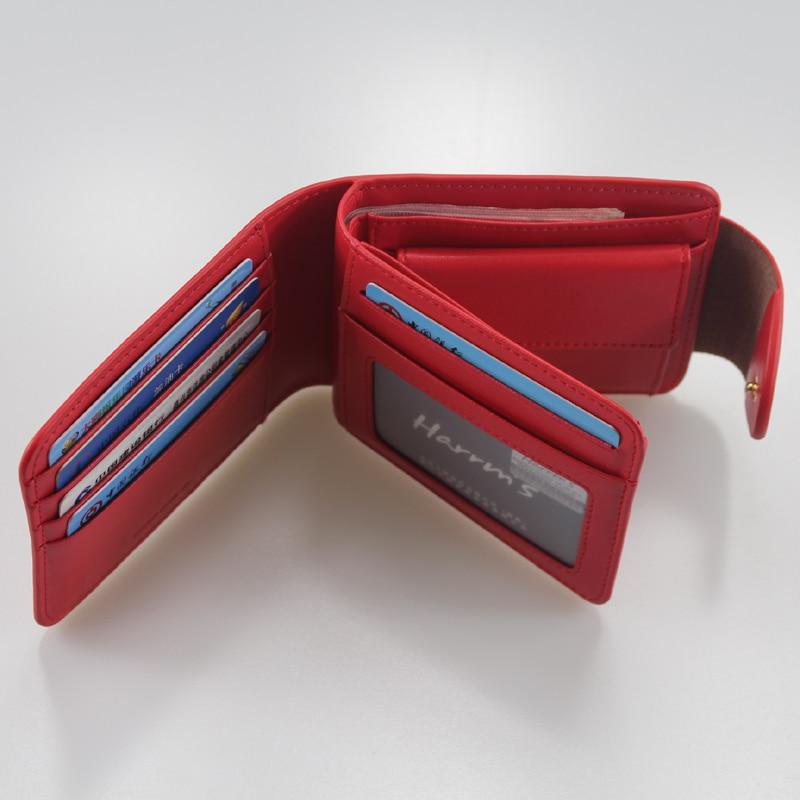 Harrm's Marka Klasik Moda hakiki deri kadın cüzdan kısa kırmızı - Cüzdanlar - Fotoğraf 5