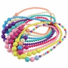 Милое ожерелье карамельного цвета, Очаровательное ожерелье из бисера, детский аксессуар для костюмированной вечеринки, розовые вечерние разноцветные ювелирные изделия для девочек