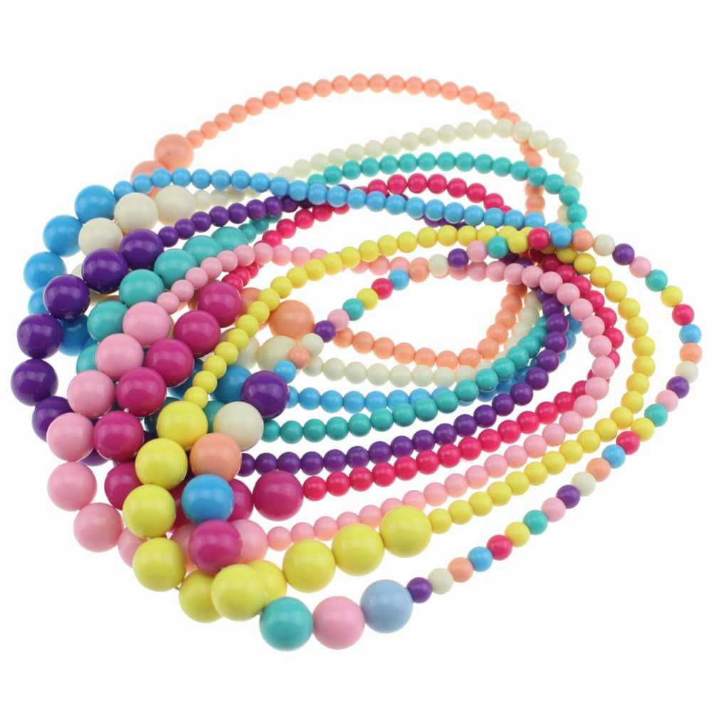 Sweet Candy Color Necklace Beaded Charming Necklace Children Cosplay Accessory Pink Girl Party Multicolor Jewelry