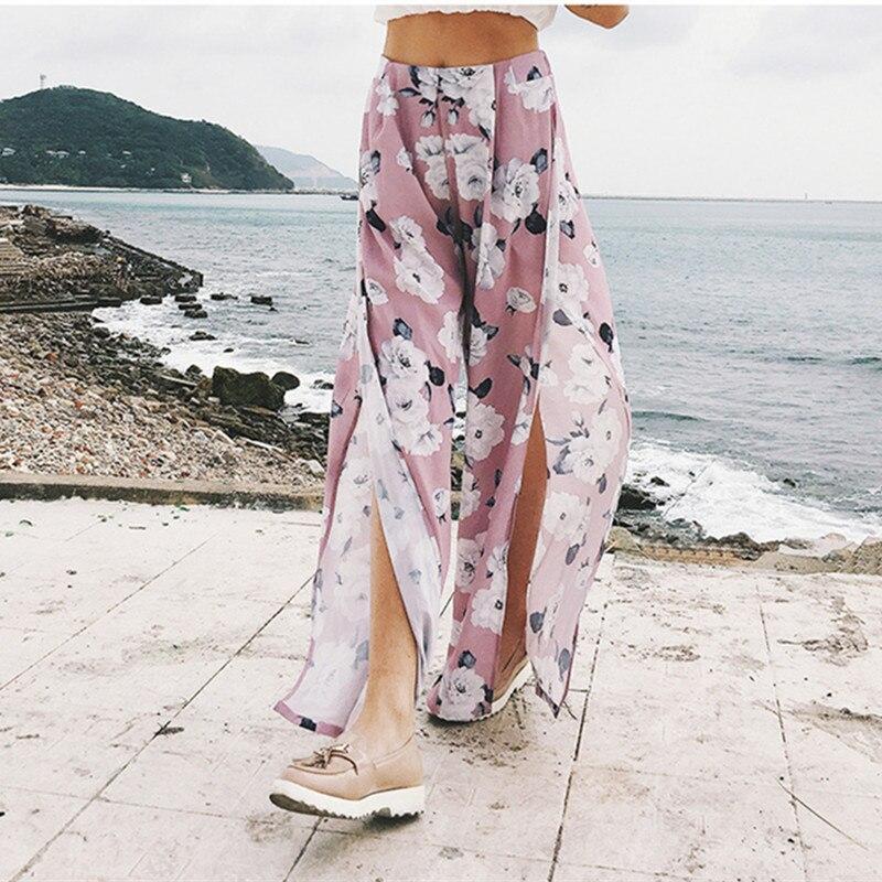 women high waist   pants   plus size summer   wide     leg     pants   pink trousers boho split casual loosepants pantalon taille haute DM7524.