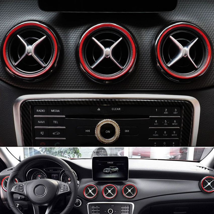 Carmonsons for <font><b>Mercedes</b></font> Benz A B CLA GLA Class <font><b>W176</b></font> W246 W117 X156 Dashboard Air Vent Decoration Trim Cover Stickers Car Styling image