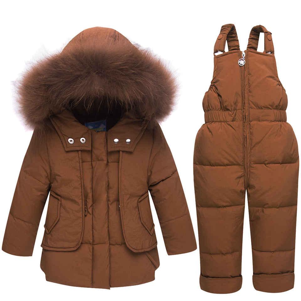 Зимняя парка куртка пуховик на утином пуху с меховым капюшоном для маленьких мальчиков и девочек Теплый детский зимний костюм Детское паль