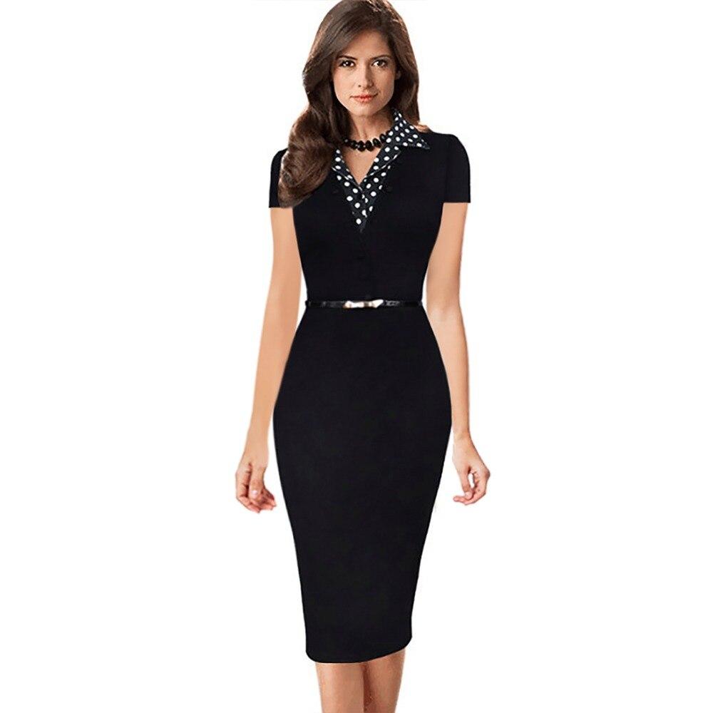 Black dress office - Womens Summer 2017 New Short Sleeve Dot Notched Neck Women Dresses Patchwork Office Wear Black Sheath