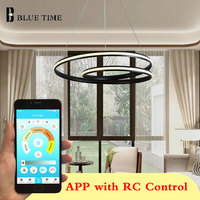 Modern Home LED Chandeliers For Dining Room Bedroom Study Room Living Room Minimalist Round Frame Chandeliers White&Black Body