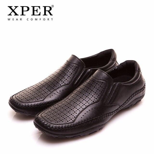 2018 XPER модный бренд Для мужчин Туфли без каблуков Для мужчин повседневная обувь без застежки Мокасины черные мужские лоферы дышащая комфорт большой Размеры # YMD86795BL