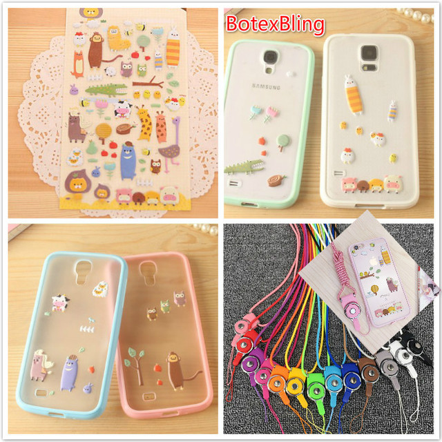save off 2cdc2 fd41c US $4.59 8% OFF|BotexBlingcute DIY stickers thin case cover for samsung  galaxy 2017 A5 A7 A8 A9 2016 J3 J5 J7 C7 Pro C5 couples Lanyard strap-in ...