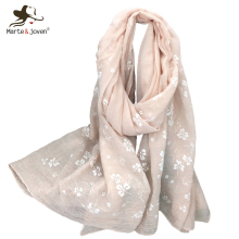 Marte&Joven Fashion White Floral Printed Cotton Women Scarf Shawls Brand Designer Autumn&Winter Big Size Warm Pashmina Wraps