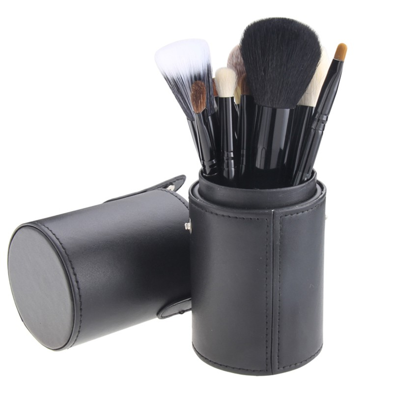 Professional Makeup Brush Set 12pcs High Quality Makeup Tools  And make up brush case brushes holder Tube pincel maquiagem professional makeup brush set 12pcs high quality makeup tools