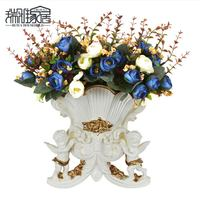 European style of the ancient murals wall decoration wall Angel American flower vases basket hanging wall of the living room