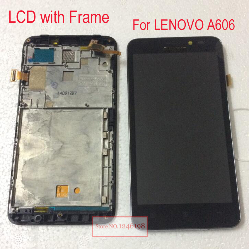 TOP Quality Black LCD Display Panel + Touch Sreen Digitizer Assembly with Frame For Lenovo A606 Replacement Parts